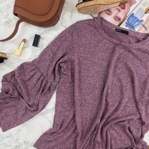 Gibson Bell Sleeve Cozy Fleece Pullover in Orchid